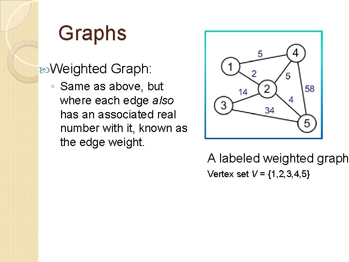 Graphs Weighted Graph: ◦ Same as above, but where each edge also has an