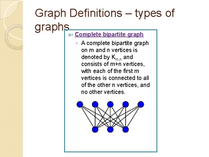 Graph Definitions – types of graphs Complete bipartite graph ◦ A complete bipartite graph