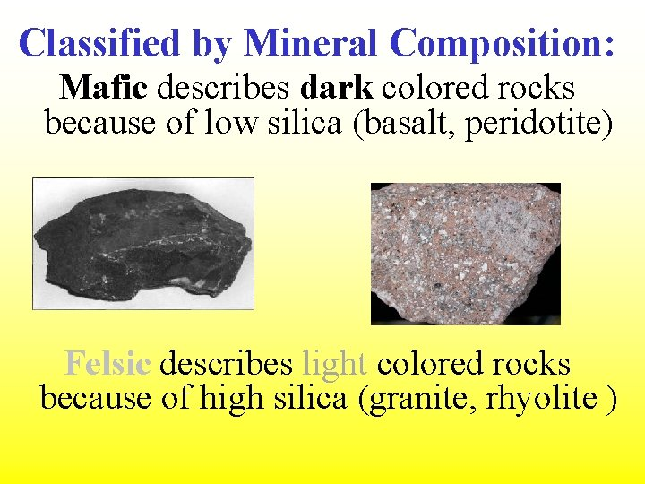 Classified by Mineral Composition: Mafic describes dark colored rocks because of low silica (basalt,
