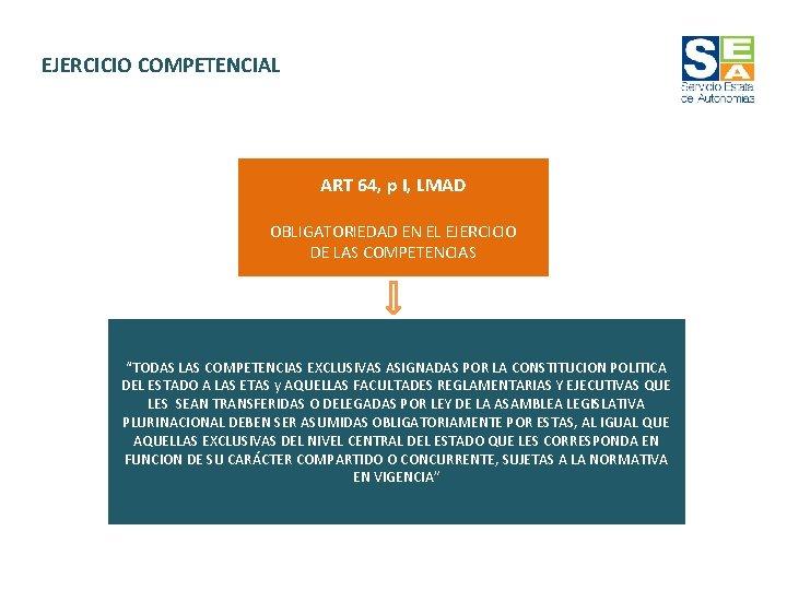 EJERCICIO COMPETENCIAL ART 64, p I, LMAD OBLIGATORIEDAD EN EL EJERCICIO DE LAS COMPETENCIAS