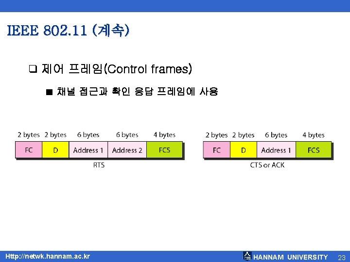 IEEE 802. 11 (계속) q 제어 프레임(Control frames) ■ 채널 접근과 확인 응답 프레임에