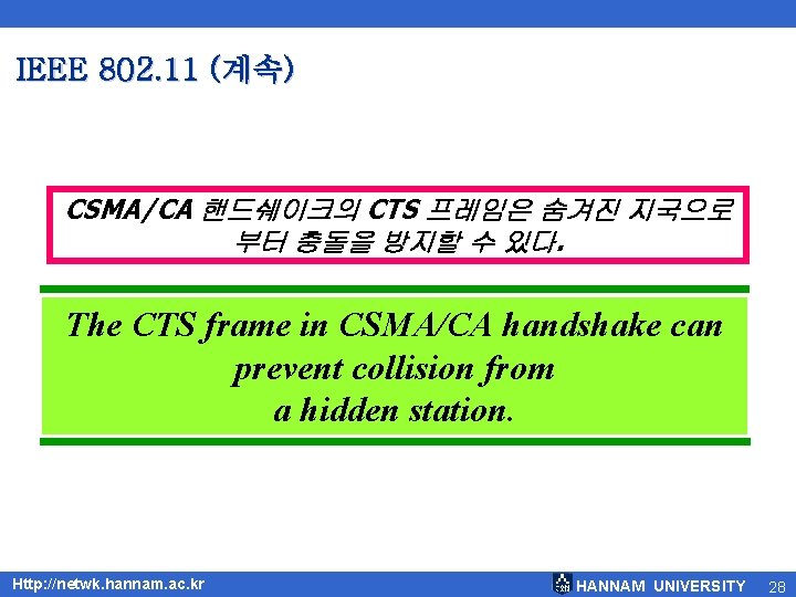 IEEE 802. 11 (계속) CSMA/CA 핸드쉐이크의 CTS 프레임은 숨겨진 지국으로 부터 충돌을 방지할 수