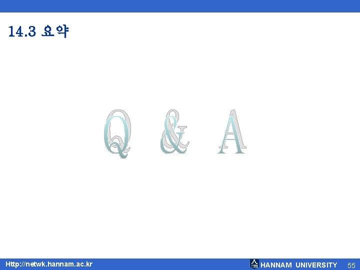 14. 3 요약 Q & A Http: //netwk. hannam. ac. kr HANNAM UNIVERSITY 55