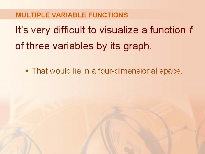 MULTIPLE VARIABLE FUNCTIONS It's very difficult to visualize a function f of three variables