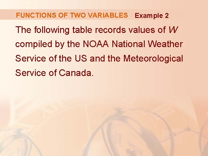 FUNCTIONS OF TWO VARIABLES Example 2 The following table records values of W compiled
