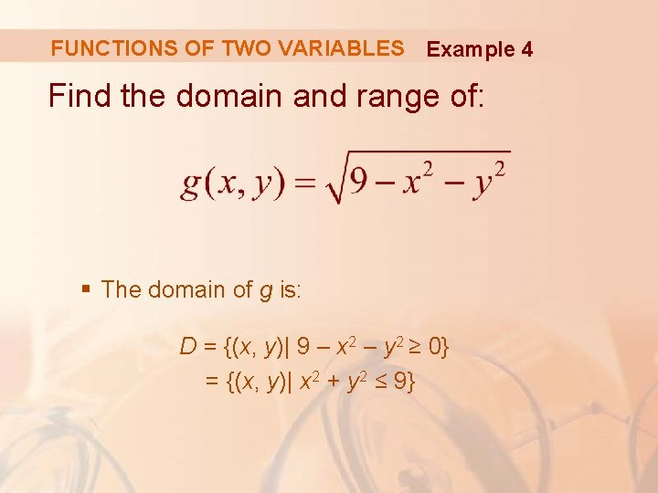 FUNCTIONS OF TWO VARIABLES Example 4 Find the domain and range of: § The