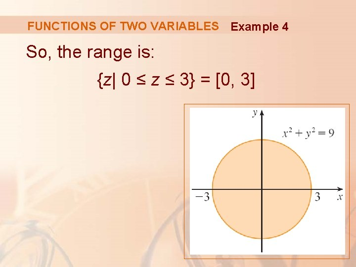 FUNCTIONS OF TWO VARIABLES Example 4 So, the range is: {z| 0 ≤ z