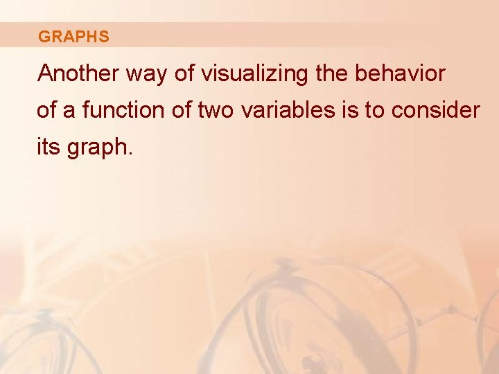 GRAPHS Another way of visualizing the behavior of a function of two variables is
