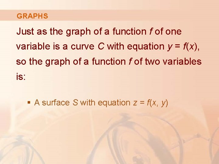 GRAPHS Just as the graph of a function f of one variable is a