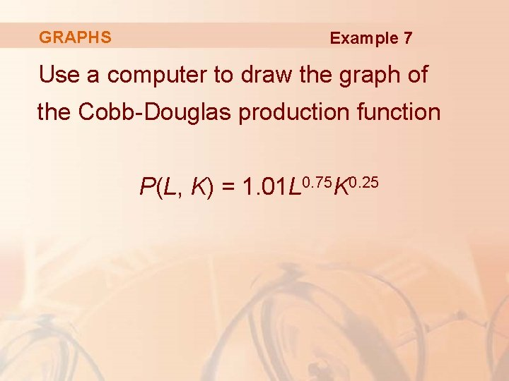 GRAPHS Example 7 Use a computer to draw the graph of the Cobb-Douglas production