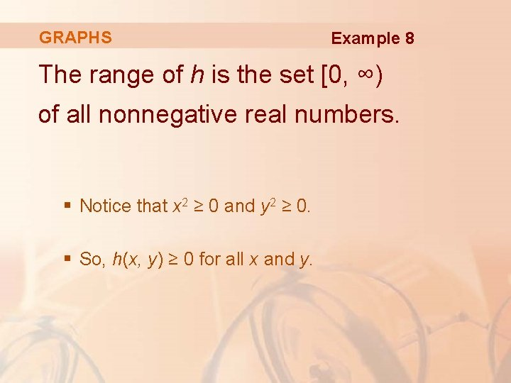 GRAPHS Example 8 The range of h is the set [0, ∞) of all