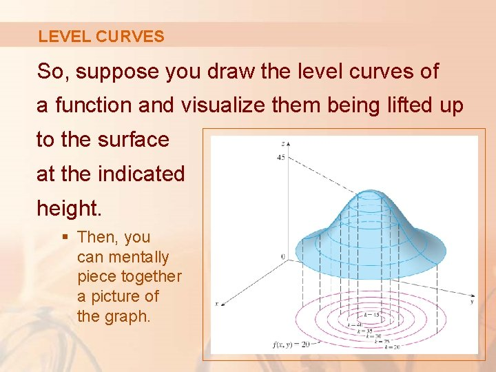 LEVEL CURVES So, suppose you draw the level curves of a function and visualize