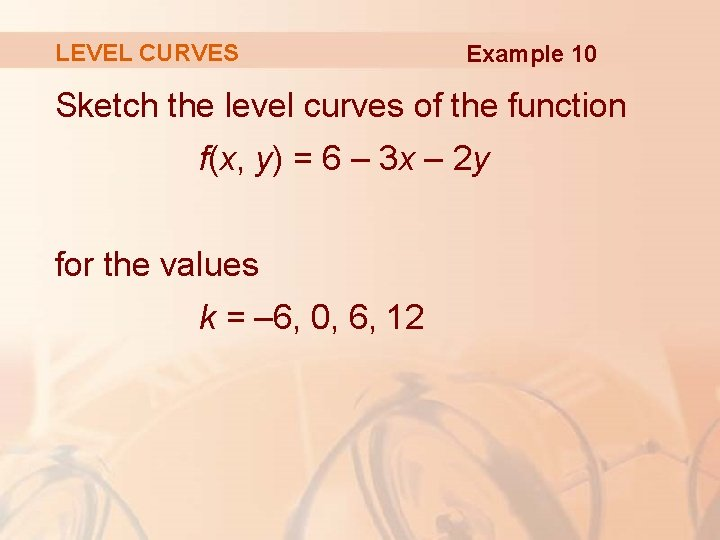 LEVEL CURVES Example 10 Sketch the level curves of the function f(x, y) =