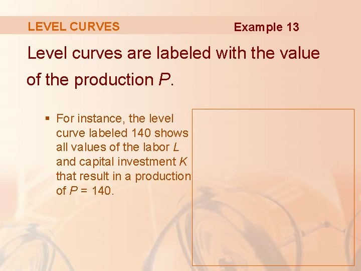 LEVEL CURVES Example 13 Level curves are labeled with the value of the production
