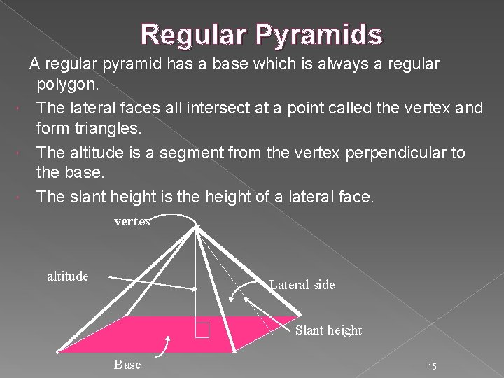 Regular Pyramids A regular pyramid has a base which is always a regular polygon.