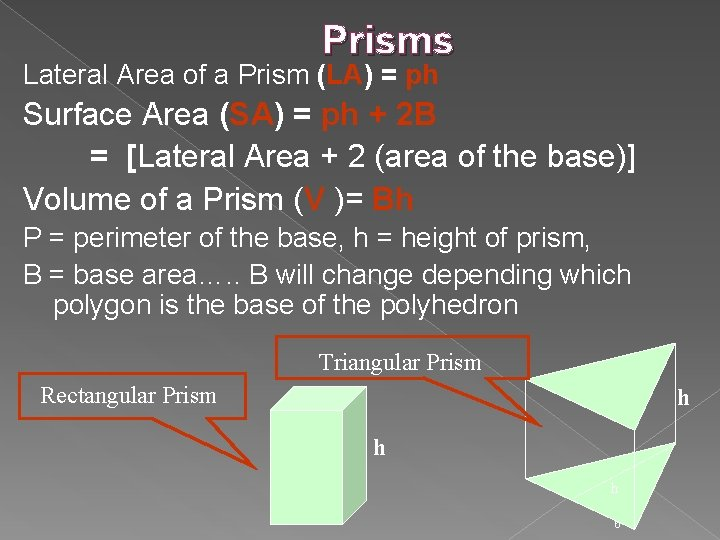 Prisms Lateral Area of a Prism (LA) = ph Surface Area (SA) = ph