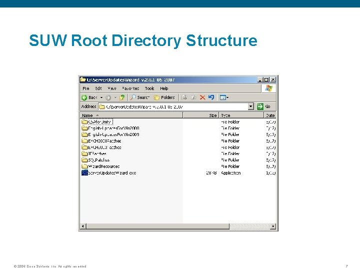 SUW Root Directory Structure © 2006 Cisco Systems, Inc. All rights reserved. 7