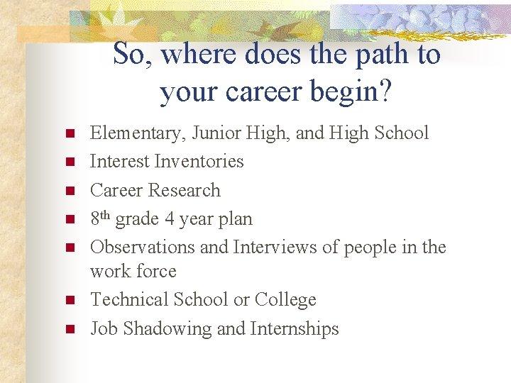 So, where does the path to your career begin? n n n n Elementary,