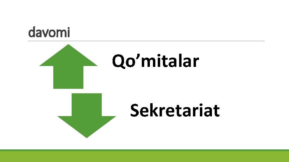davomi Qo'mitalar Sekretariat