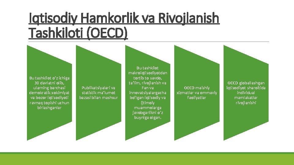 Iqtisodiy Hamkorlik va Rivojlanish Tashkiloti (OECD) Bu tashkilot o'z ichiga 30 davlatni olib, ularning