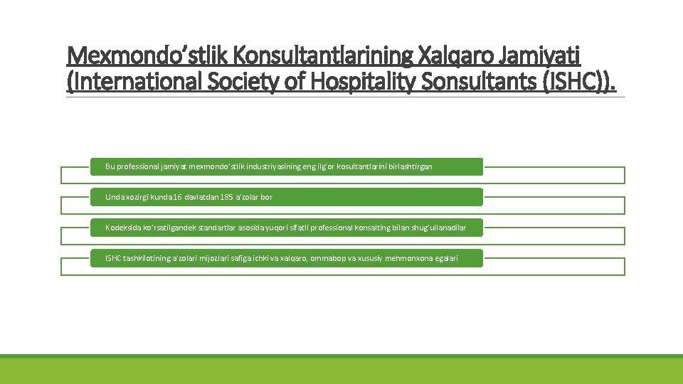 Mexmondo'stlik Konsultantlarining Xalqaro Jamiyati (International Society of Hospitality Sonsultants (ISHC)). Bu professional jamiyat mexmondo'stlik