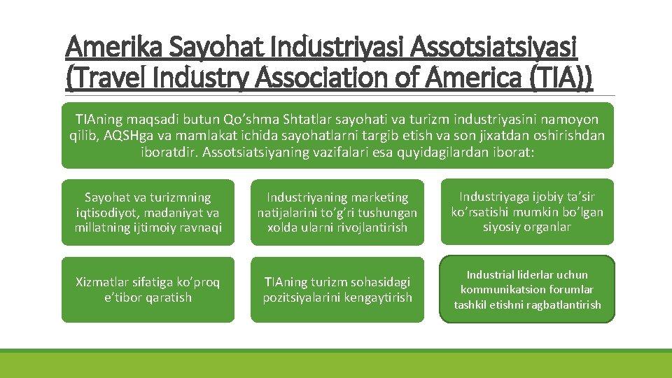 Amerika Sayohat Industriyasi Assotsiatsiyasi (Travel Industry Association of America (TIA)) TIAning maqsadi butun Qo'shma