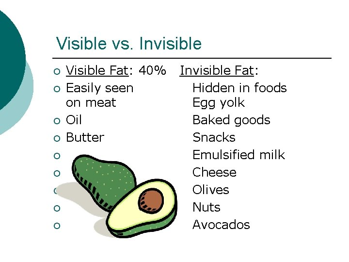 Visible vs. Invisible ¡ ¡ ¡ ¡ ¡ Visible Fat: 40% Easily seen on