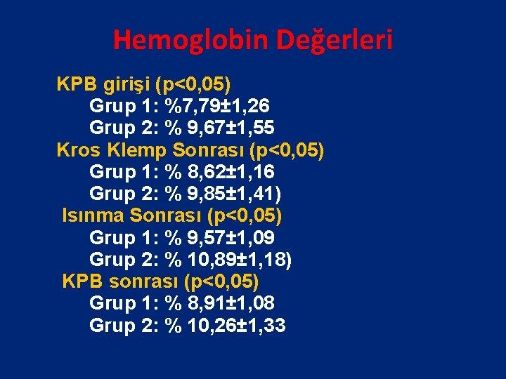 Hemoglobin Değerleri KPB girişi (p<0, 05) Grup 1: %7, 79± 1, 26 Grup 2: