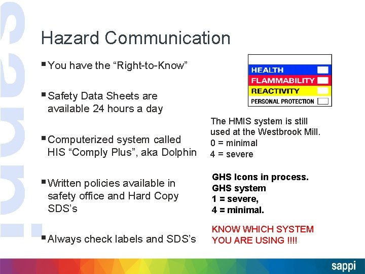 """Hazard Communication § You have the """"Right-to-Know"""" § Safety Data Sheets are available 24"""