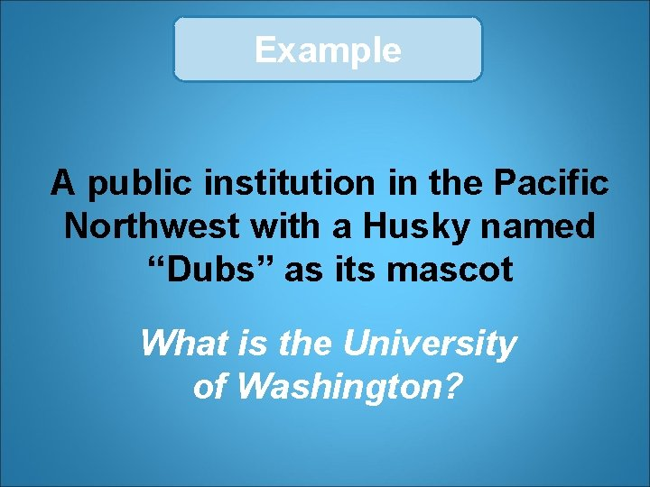 """Example A public institution in the Pacific Northwest with a Husky named """"Dubs"""" as"""
