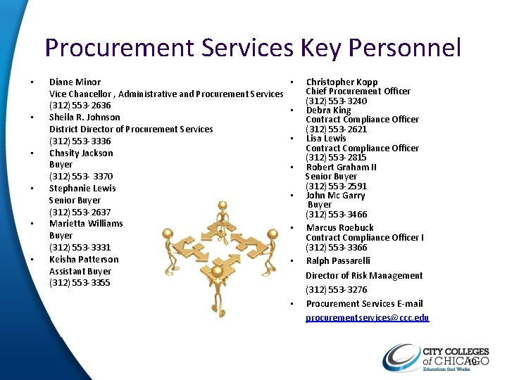 Procurement Services Key Personnel • • • Diane Minor Vice Chancellor , Administrative and