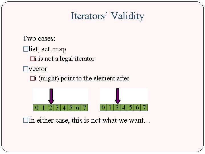 Iterators' Validity Two cases: �list, set, map �i is not a legal iterator �vector