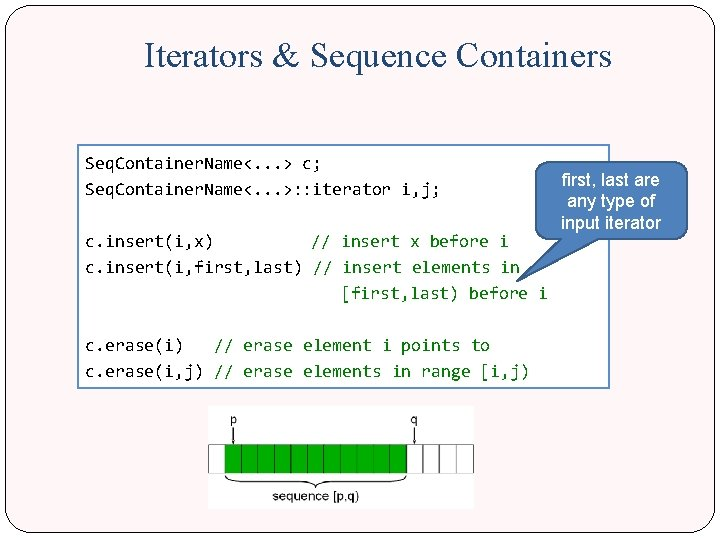 Iterators & Sequence Containers Seq. Container. Name<. . . > c; first, last are