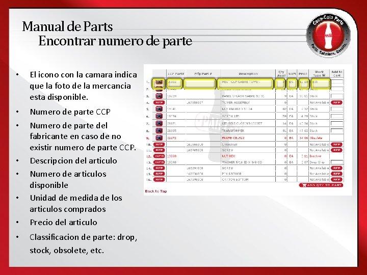 Manual de Parts Encontrar numero de parte • El icono con la camara indica