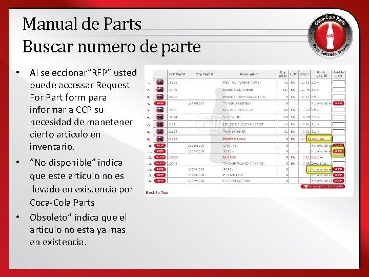 """Manual de Parts Buscar numero de parte • Al seleccionar""""RFP"""" usted puede accessar Request"""