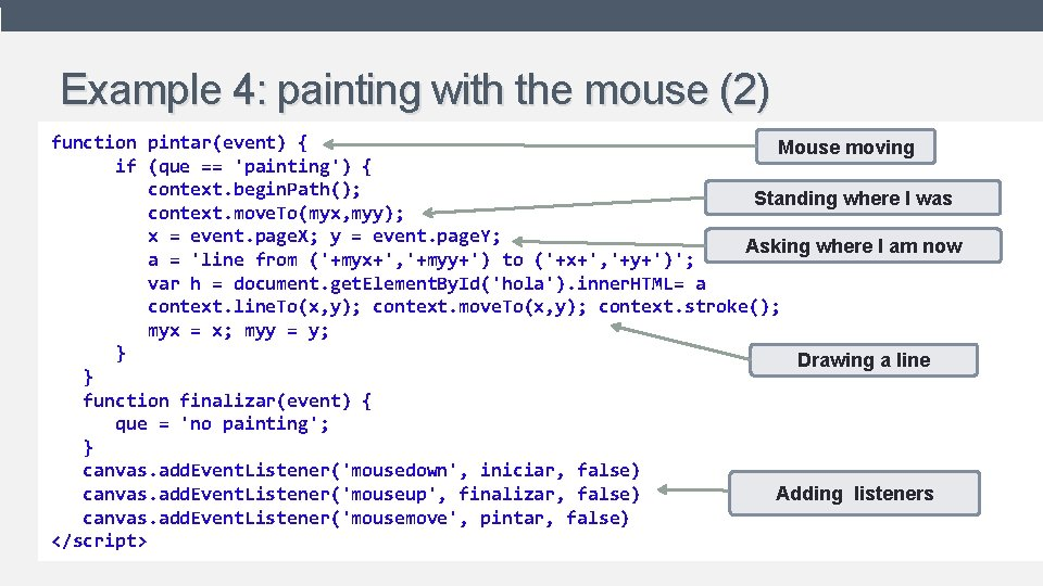Example 4: painting with the mouse (2) function pintar(event) { Mouse moving • Shows