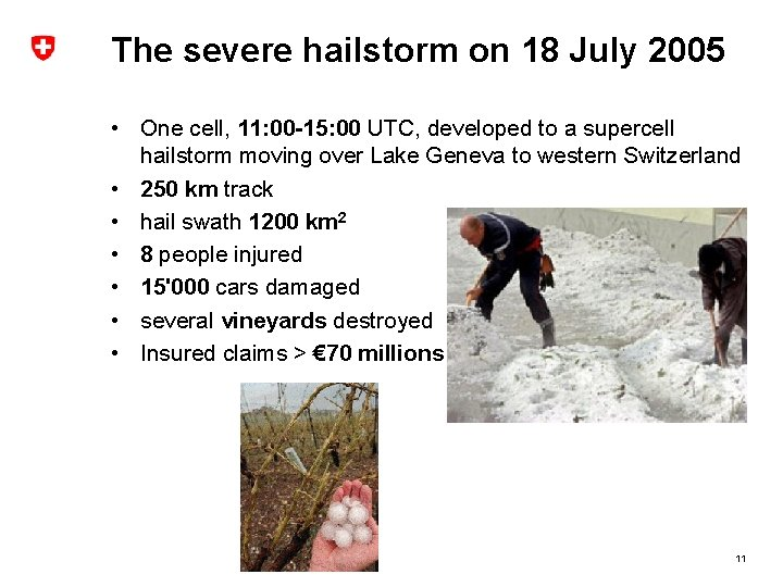 The severe hailstorm on 18 July 2005 • One cell, 11: 00 -15: 00