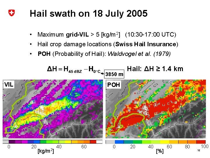 Hail swath on 18 July 2005 • Maximum grid-VIL > 5 [kg/m 2] (10: