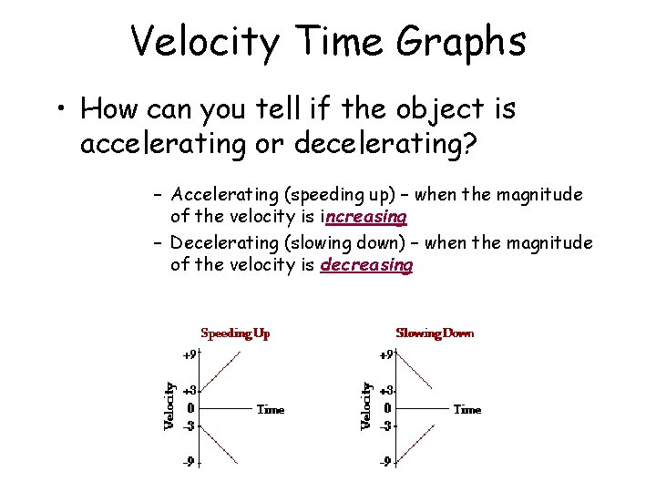 Velocity Time Graphs • How can you tell if the object is accelerating or