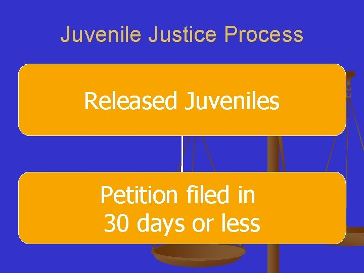 Juvenile Justice Process Released Juveniles Petition filed in 30 days or less
