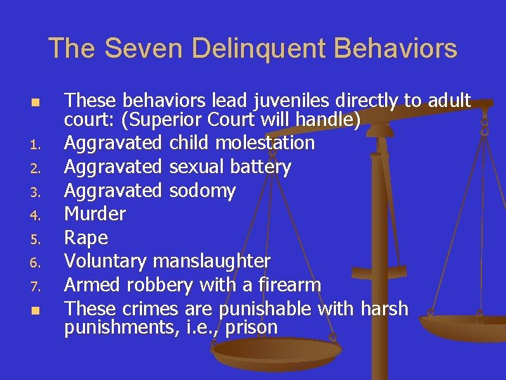 The Seven Delinquent Behaviors n 1. 2. 3. 4. 5. 6. 7. n These