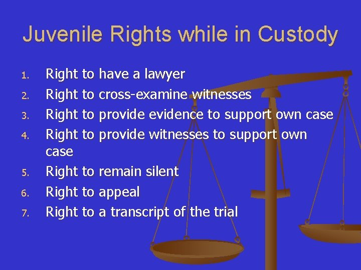 Juvenile Rights while in Custody 1. 2. 3. 4. 5. 6. 7. Right to