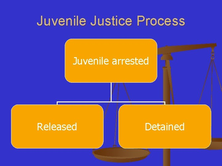 Juvenile Justice Process Juvenile arrested Released Detained