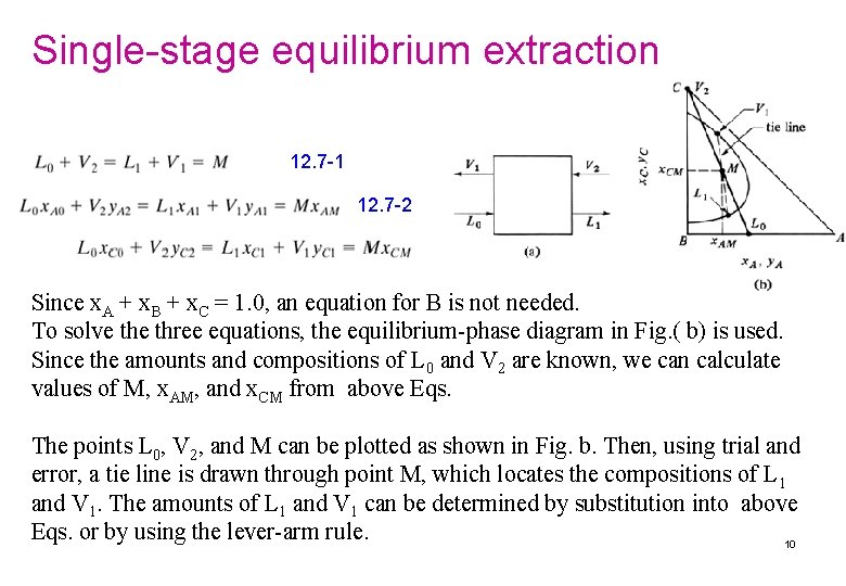 Single-stage equilibrium extraction 12. 7 -1 12. 7 -2 Since x. A + x.