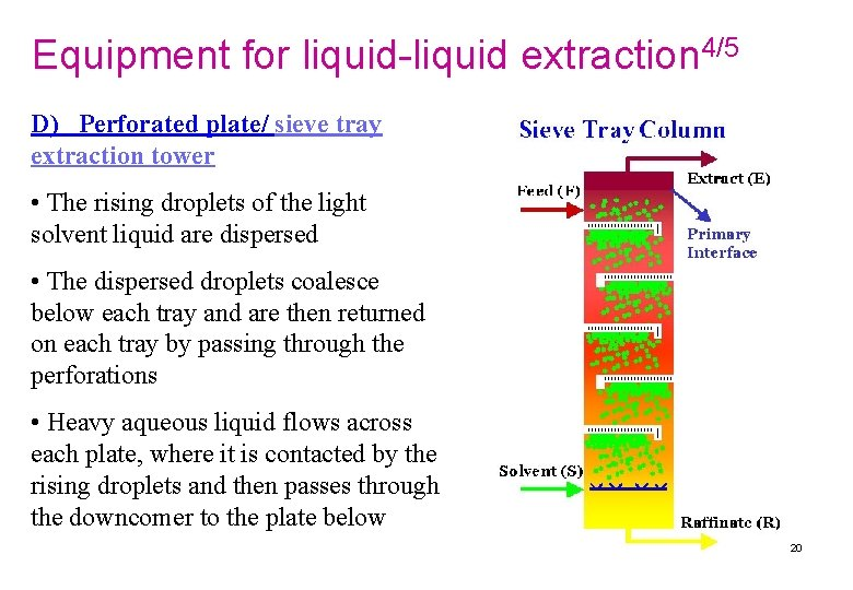 Equipment for liquid-liquid extraction 4/5 D) Perforated plate/ sieve tray extraction tower • The
