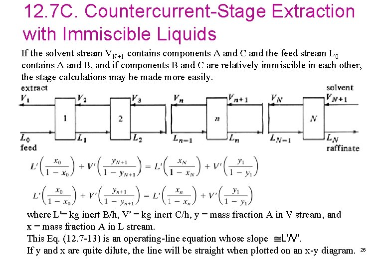 12. 7 C. Countercurrent-Stage Extraction with Immiscible Liquids If the solvent stream VN+1 contains