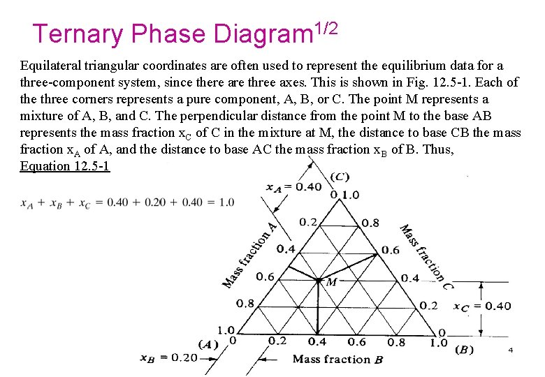 Ternary Phase Diagram 1/2 Equilateral triangular coordinates are often used to represent the equilibrium