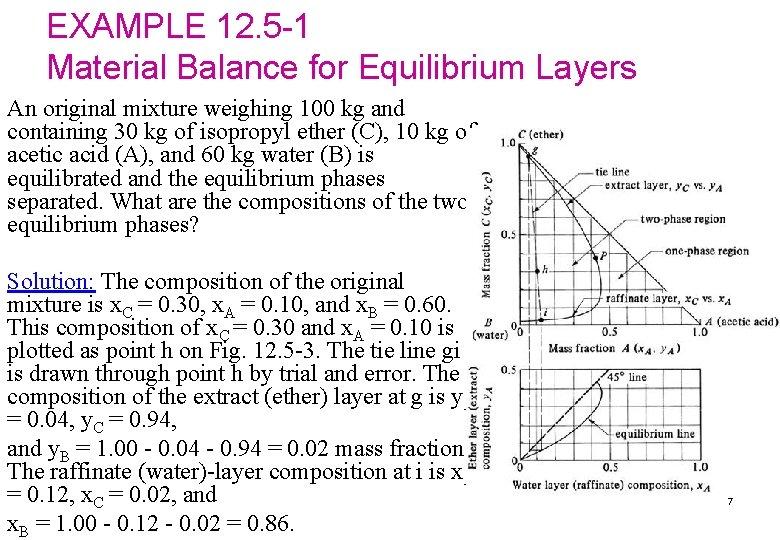 EXAMPLE 12. 5 -1 Material Balance for Equilibrium Layers An original mixture weighing 100