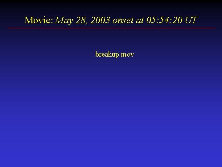 Movie: May 28, 2003 onset at 05: 54: 20 UT breakup. mov