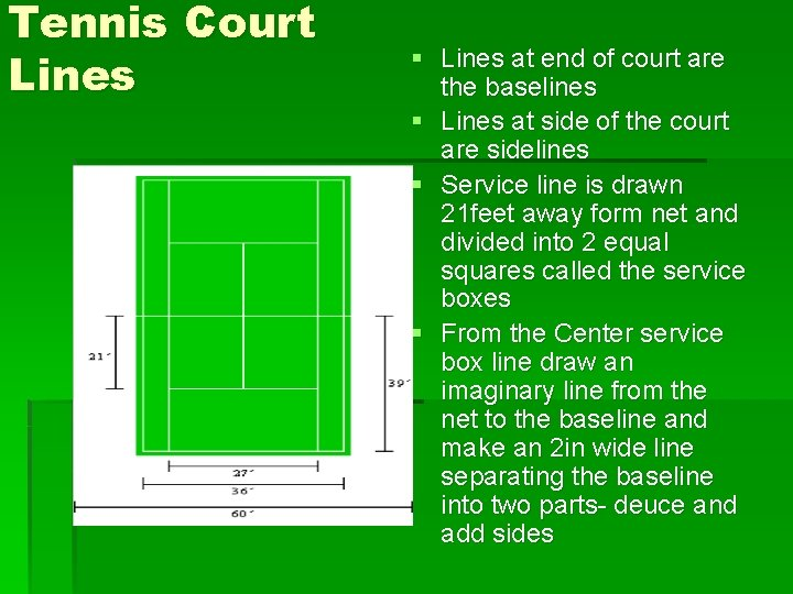 Tennis Court Lines § Lines at end of court are the baselines § Lines